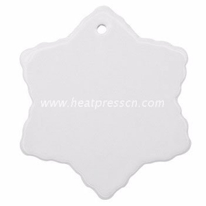Snow Shape Ceramic Pendent for Sublimation with Rope CP-SN