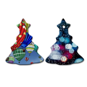 Christmas Tree Shape Sublimation Ceramic Pendent CP-CT